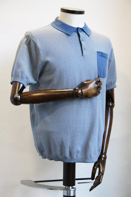 Merc London Pascal Blue Stripe Knitted Polo Shirt