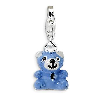 925 Sterling Silver Open bottom Rhodium plated Fancy Lobster Closure Blue Enamel Teddy Bear With Lobster Clasp Charm Pen