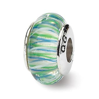 925 plata esterlina pulido reflejos azul amarillo murano vidrio abalorios encanto colgante collar regalos de joyería para las mujeres