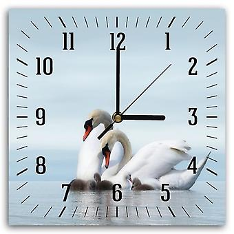 Decorative Clock With Picture, The Family Of Swans 2