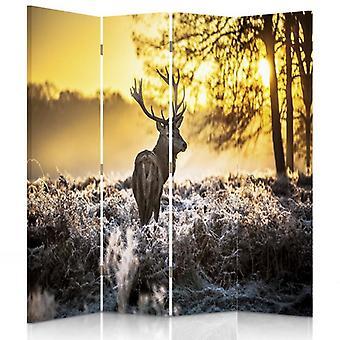 Divisor de quarto, 4 painéis, duplo-face, lona, por do sol dos cervos