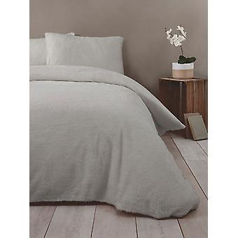 Snuggle Bedding Teddy Fleece Duvet Cover Set - Single, Silver