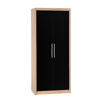 Sevilla 2 Tür Kleiderschrank - leichte Eiche Effekt Furnier/schwarz Glanz
