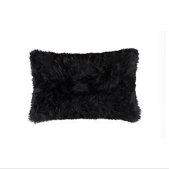 """18"""" x 18""""Modern Black New Zealand Sheepskin Pillow"""