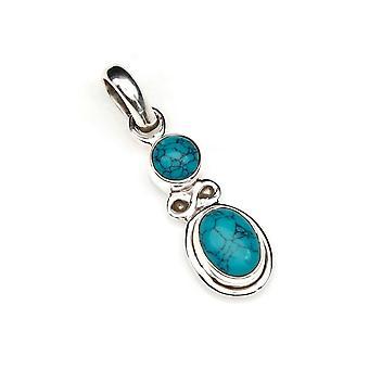 Turkis vedhæng 925 sterling sølv kæde vedhæng Locket blå grøn (128-15)