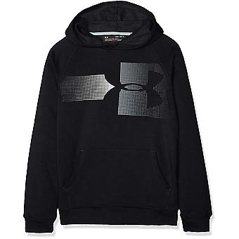 Under Armour Boys Rival Logo Hoodie, Black, Black (001)/Steel, Size Youth Large