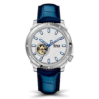 Reign Bauer Semi-SkeletonLeather-Band Watch- Silver/Blue