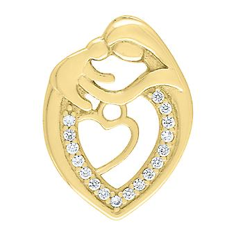 925 Sterling Silver Yellow CZ Cubic Zirconia Simulated Diamond Mother Child Love Heart 2.16gm Womens Charm Pendant Neckl