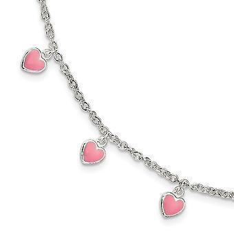 925 Sterling Ezüst Childerns Enameled Love Hearts 0,5in Ext karkötő 5,5 Inch - 2,5 gramm