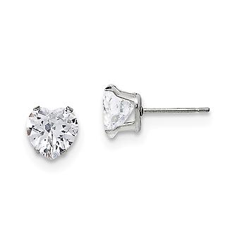 Stainless Steel Polished 8mm Love Heart CZ Cubic Zirconia Simulated Diamond Stud Post Earrings Jewelry Gifts for Women