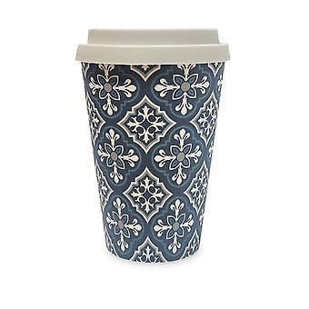History & Heraldry Bamboo Eco Travel Mug - Ornate Tile Pattern