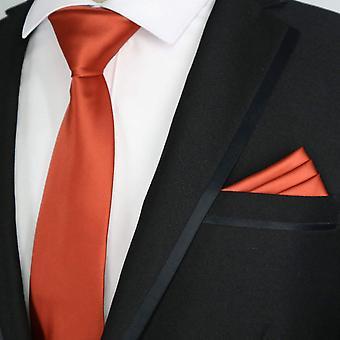 Terracotta solid satin finish slim tie & pocket square