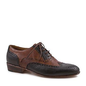 ليوناردو أحذية النساء & ق الجناح اليدوية أكسفورد أحذية البني الداكن / تان الجلود