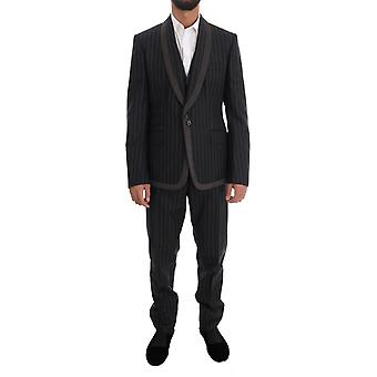 Dolce & Gabbana Gray Wool One Button 3-częściowy garnitur