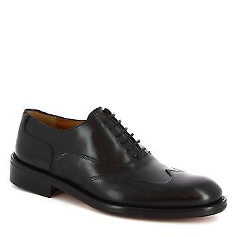 Leonardo Shoes Men's handgemaakte veters oxfords schoenen in zwart kalfsleer