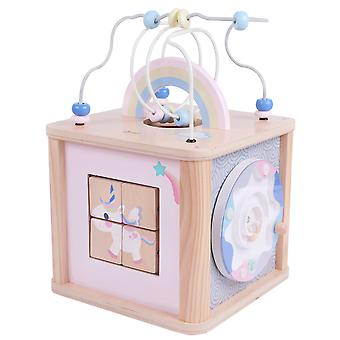 Classic World - Dream Activity Cube, Wooden Activity Cube Multifunction Toy with Bead Maze, Pastel Rainbow and Unicorn