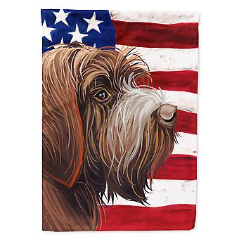 Wirehaired Pointing Griffon American Flag Flag Canvas House Size
