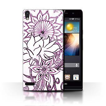 STUFF4 Fall/Cover für Huawei Ascend P6/White/Purple/Henna Paisley Blume
