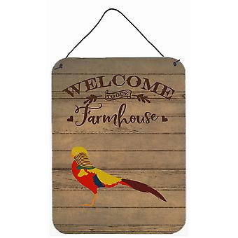 Golden or Chinese Pheasant Welcome Wall or Door Hanging Prints