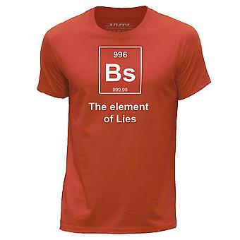 STUFF4 Men's Round Neck T-Shirt/Funny Periodic Element / Lies/Orange
