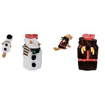 Christmas Shop Pet Plush Snowman/Reindeer Outfit Costume