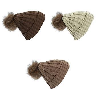 Naisten/naisten Kaapeli neuloa talven pipo hattu tekoturkiksia Pom Pom