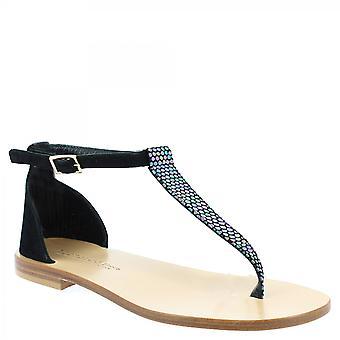 Leonardo Sko Kvinner's håndlaget lav t stropp sandaler i svart semsket skinn