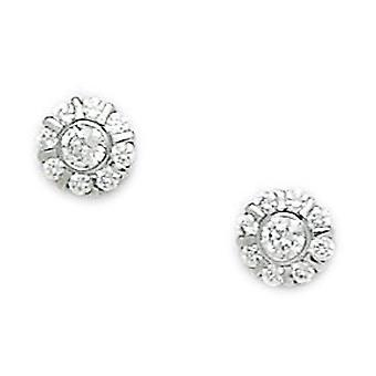 14k White Gold CZ Cubic Zirconia Simulated Diamond Medium Round Screw back Earrings Measures 7x7mm Jewelry Gifts for Wom