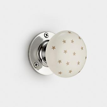 Perilla de puerta interior de cerámica - blanco / gris - estrellas