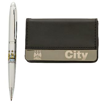 Manchester City FC Official Football Gift Boxed Business Card Holder & Pen
