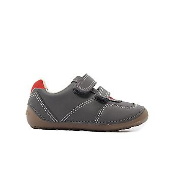 Clarks Tiny Dusk Toddler Grey Leather Childrens Rip Tape Pre Walker Chaussures