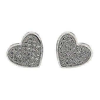 TOC Sterling Silver Clear Rhinestone Pave Heart Stud Earrings 10mm