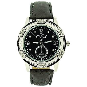 Style Ladies Analogue Clear Stone Set Bezel Grey Dial & PU Strap Watch NSS914