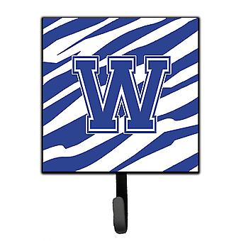 Letter W Initial Tiger Stripe Blue and White Leash Holder or Key Hook