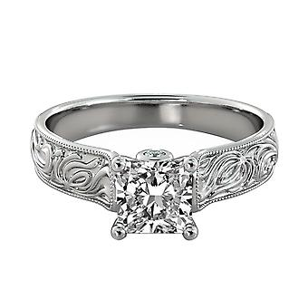 1.81 Carat H SI2 Diamond Engagement Ring 14K White Gold Solitaire w Accents Filigree Princess