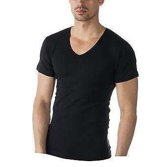 Mey 49107-123 Herren Casual Baumwolle schwarz einfarbig Kurzarm Top