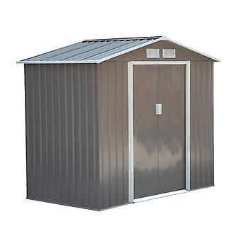 Outsunny Lockable Garden Shed Large Patio Roofed Tool Metal Storage Building Foundation Sheds Box Outdoor Furniture (7ft x 4ft, Grey)