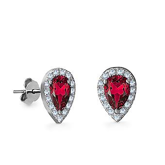 Earrings Empress Precious Stone,  18K Gold and Diamonds with Ruby | Emerald | Sapphire - White Gold, Ruby