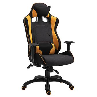 Vinsetto Stylish Racing Gaming Chair Yellow Panels Ergonomic 360° Swivel Adjustable Height Arms w/ Neck Back Pillow Home Office Seat Executive