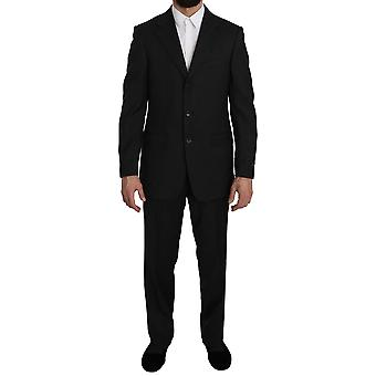 Z ZEGNA Black Striped  2 Piece 3 Button Wool Suit -- KOS1191600