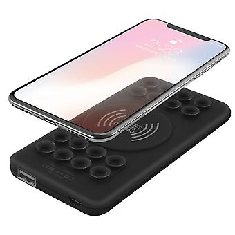5000mAh Powerbank Qi Wireless Charging USB Suction Cup Soft Touch- Akashi, Black