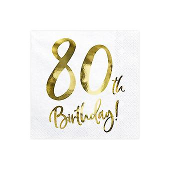 80th Birthday Paper Party Napkins Gold and White x 20