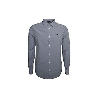 Armani Jeans Men's Slim Fit Dark Blue Long Sleeved Check Shirt