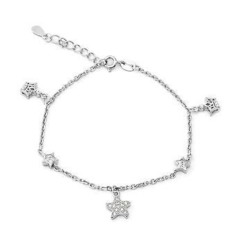 "ELANZA 1.19 Ct Cubic Zirconia CZ Charm Bracelet Sterling Silver Sz 7"" 1"""