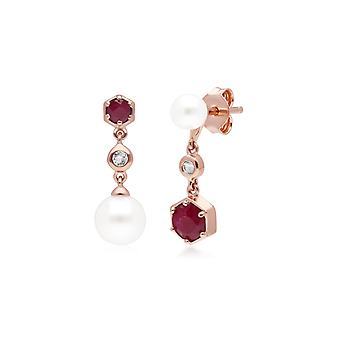 Moderne Perle, Rubin & Topas nicht übereinstimmende Tropfen Ohrringe in Rose vergoldet Sterling Silber 270E030302925