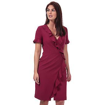 Women-apos;s Français Connection Aliianor Stretch V-Neck Frill Dress en rouge