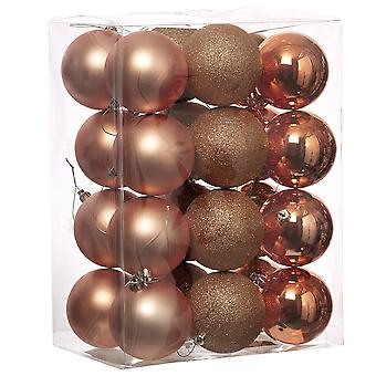 24 Blush Pink 6cm Shatterproof Christmas Tree Bauble Décorations