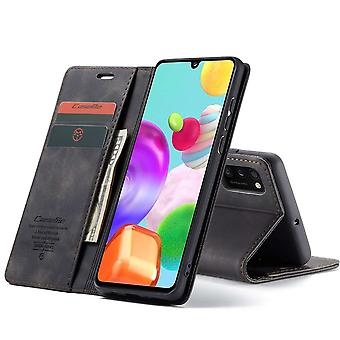 Samsung A41 Case Black - Retro Wallet Slim