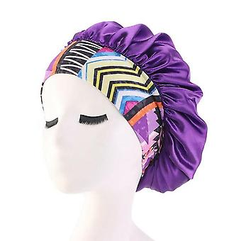 Ruffle Style Wide Band Elastic Waterproof Reusable Comfy Shower Cap - Bathing Caps For Ladies Hair Cover