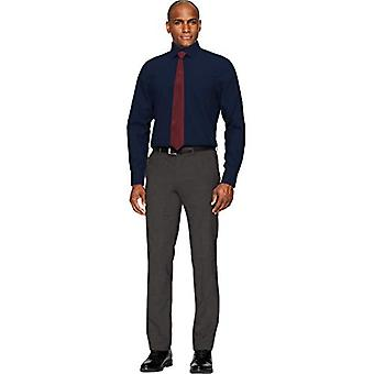 BUTTONED DOWN Men's Classic Fit Spread Collar Solid Pocket Options, Navy 16